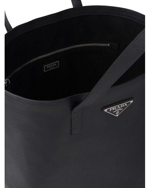 Borsa tote con logo di Prada in Black da Uomo