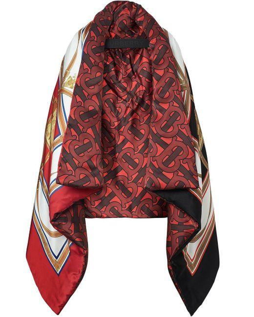 Дутая Атласная Накидка С Архивным Принтом Burberry, цвет: Red