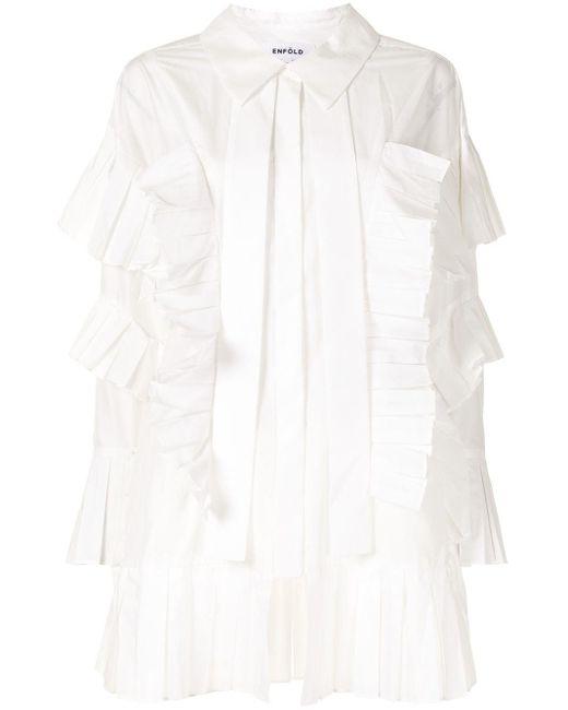 Enfold プリーツトリム シャツ White