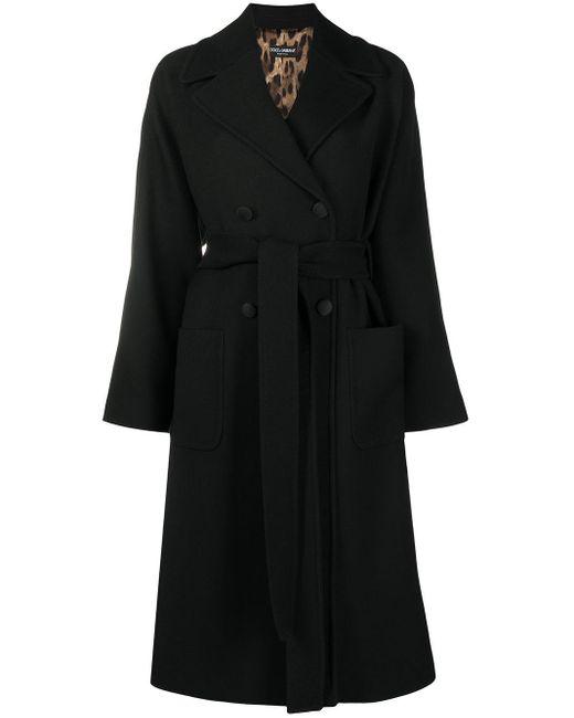 Cappotto doppiopetto con cintura di Dolce & Gabbana in Black