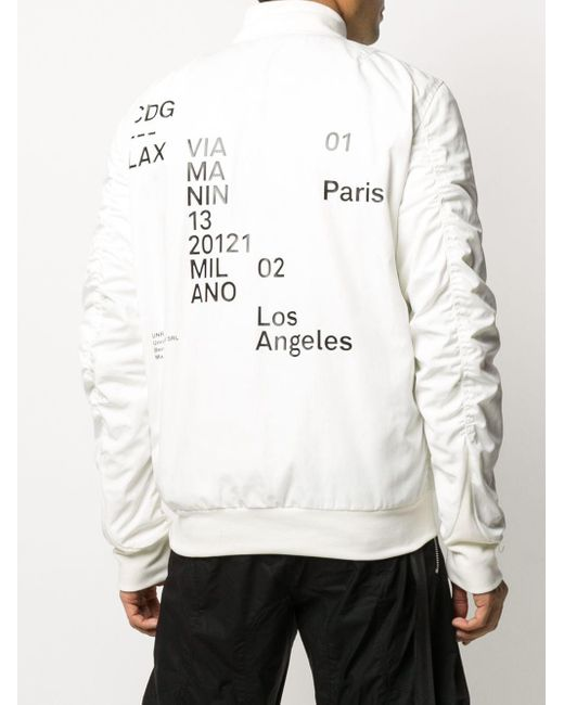 メンズ Unravel Project グラフィック ボンバージャケット White