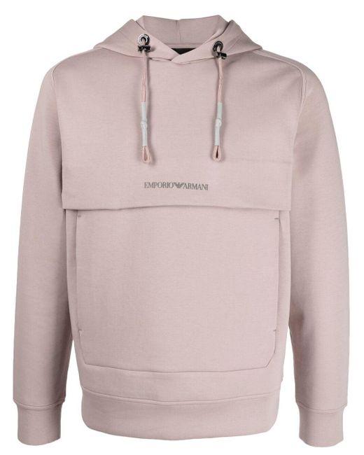 メンズ Emporio Armani ロゴ パーカー Pink