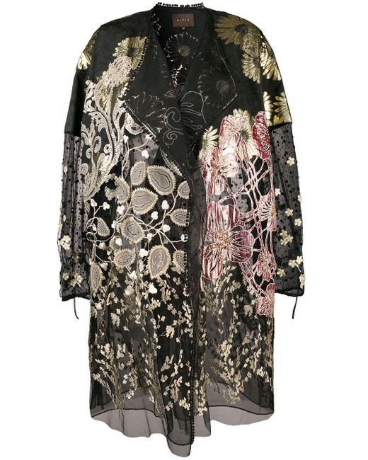 Biyan Floral Embroidered Coat Black