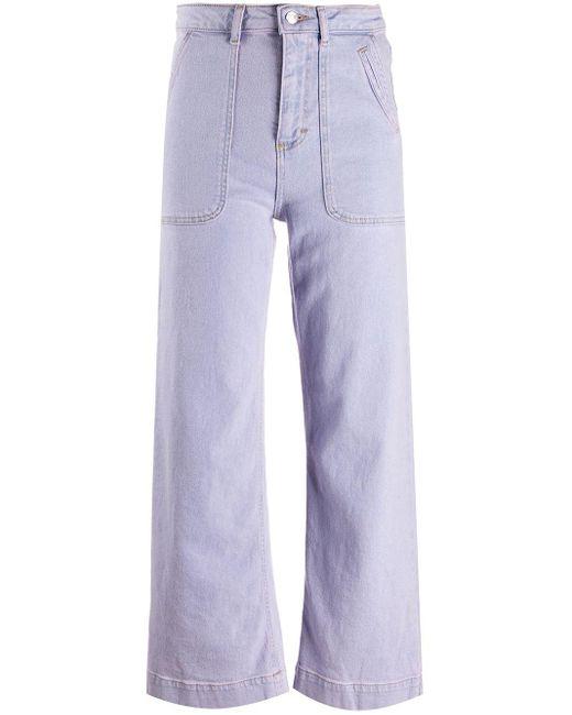 AlexaChung ハイウエスト ワイドジーンズ Purple