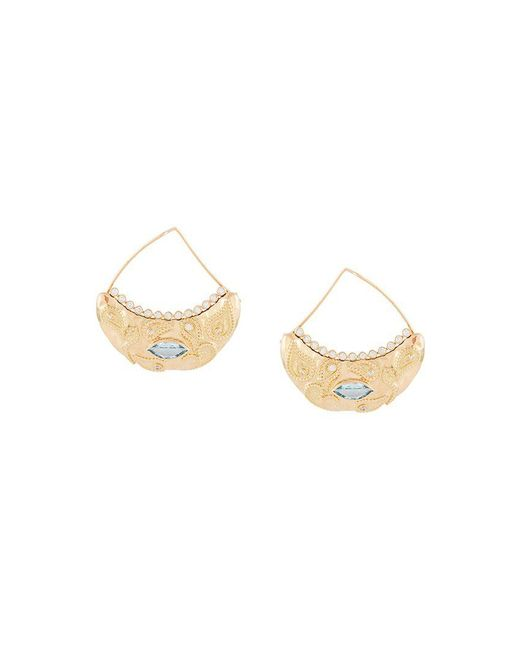 Aurelie Bidermann | Metallic 'cashmere' Aquamarine And Diamond Earrings | Lyst