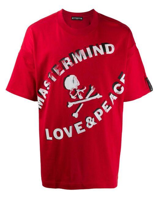 メンズ Mastermind Japan Peace & Love Tシャツ Red