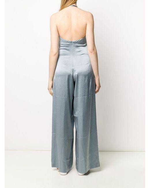 Erika Cavallini Semi Couture ホルターネック ジャンプスーツ Blue