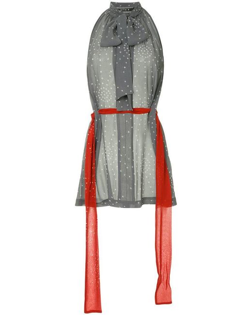 Kitx - Gray Scarf-belted Blouse - Lyst