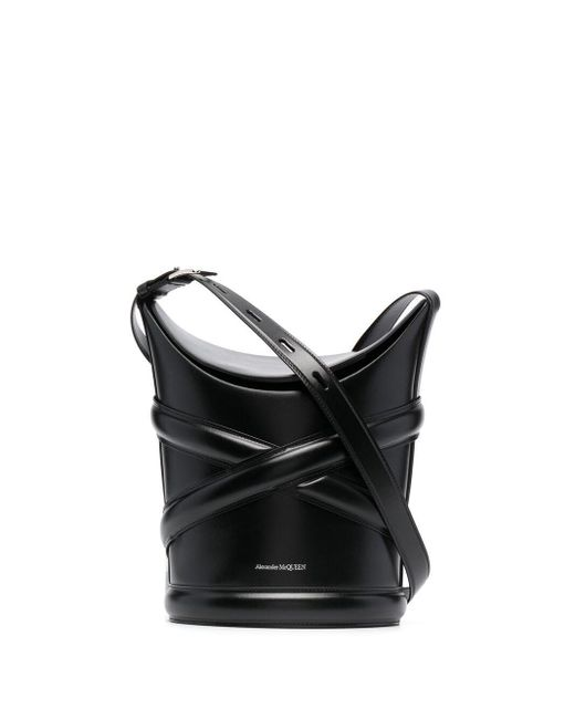 Alexander McQueen Black Medium Curve Bucket Bag