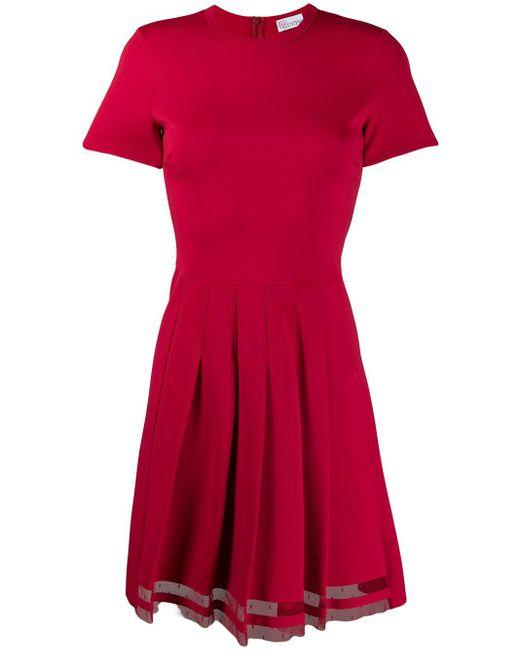 RED Valentino プリーツ フレアドレス Red