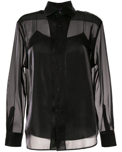 Ralph Lauren Collection サテンシャツ Black