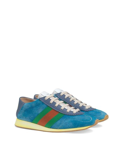 Gucci Suede Sneaker With Web in Blue