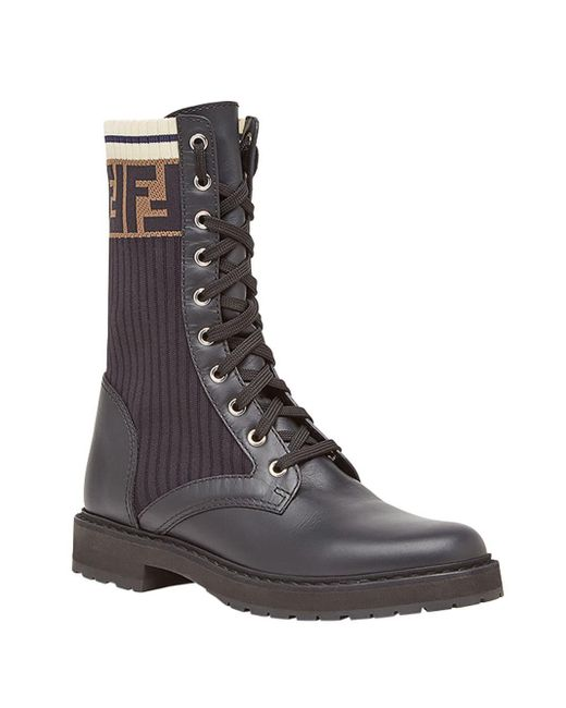 Rockoko combat boots Fendi en coloris Black