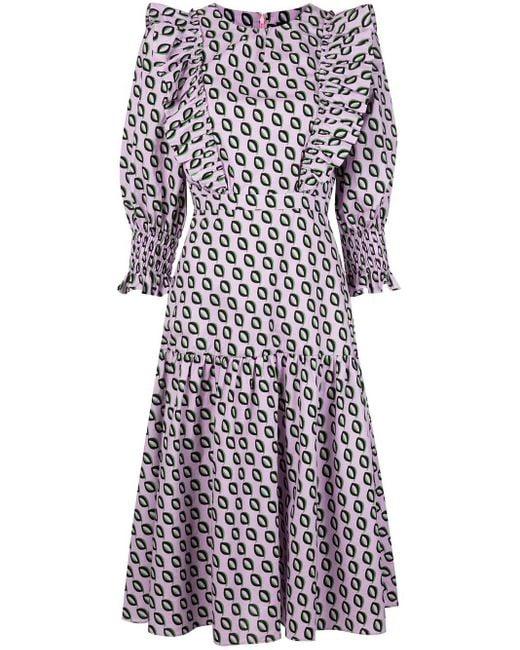 Cynthia Rowley Campbell ラッフル ドレス Purple