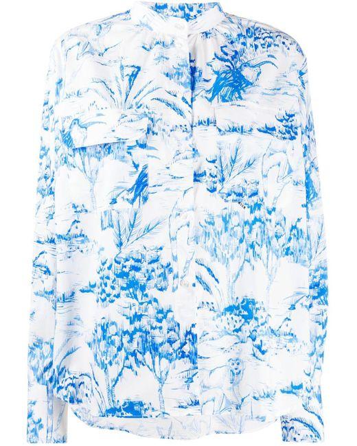 MSGM ノーカラー シャツ Blue
