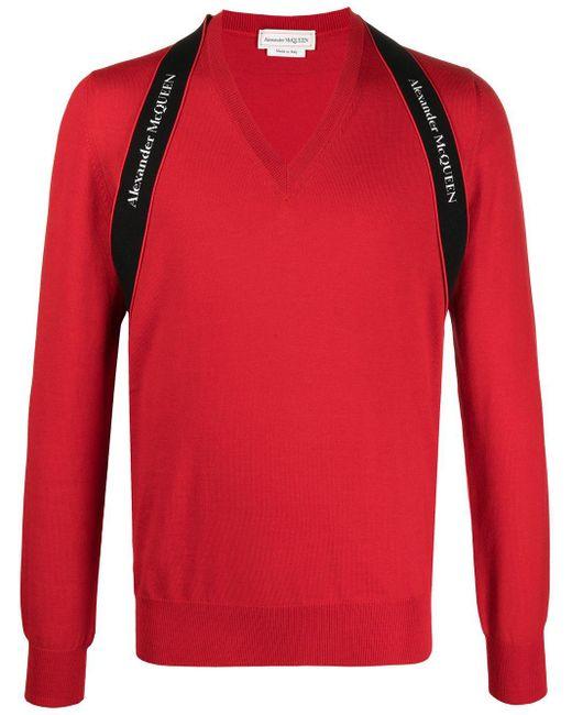 Джемпер С V-образным Вырезом И Логотипом Alexander McQueen для него, цвет: Red