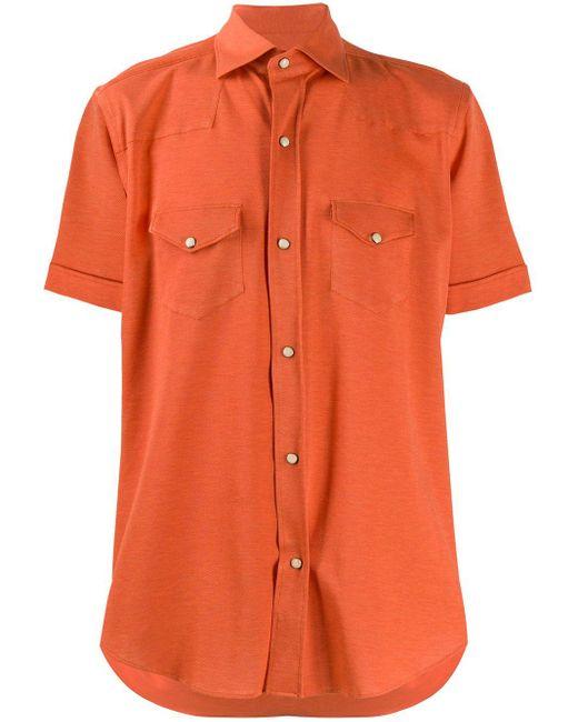 メンズ Eleventy Texas ボタンシャツ Orange