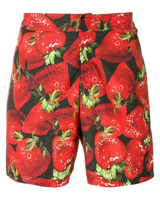Moschino - Red Strawberry Print Swimming Trunks for Men - Lyst