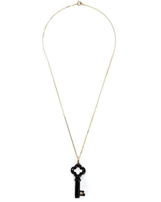 Kristin Hanson Black Diamond Detail Clover Key Necklace