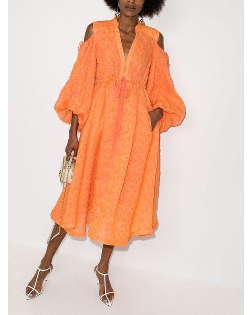 Rosie Assoulin オープンショルダー ドレス Orange