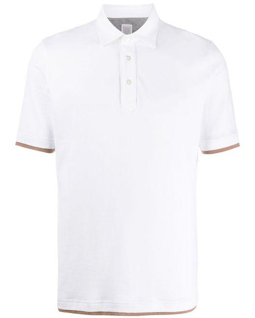 メンズ Eleventy レイヤード ポロシャツ White