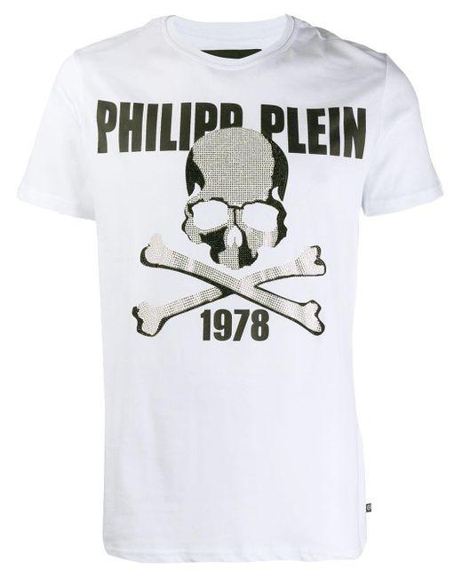 メンズ Philipp Plein スカル ラウンドネック Tシャツ White
