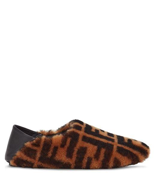 Лоферы С Логотипом Ff Fendi для него, цвет: Brown