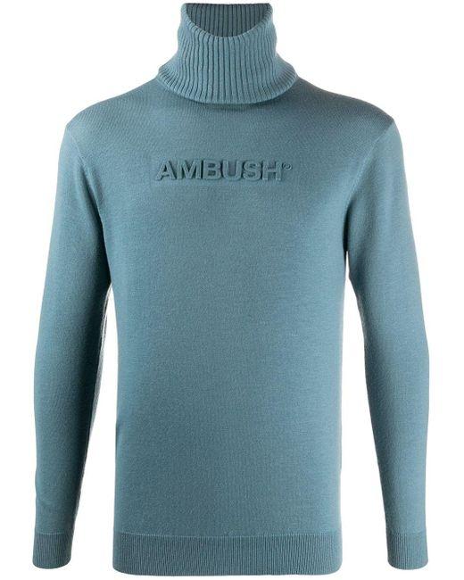 メンズ Ambush ロゴ タートルネック セーター Blue