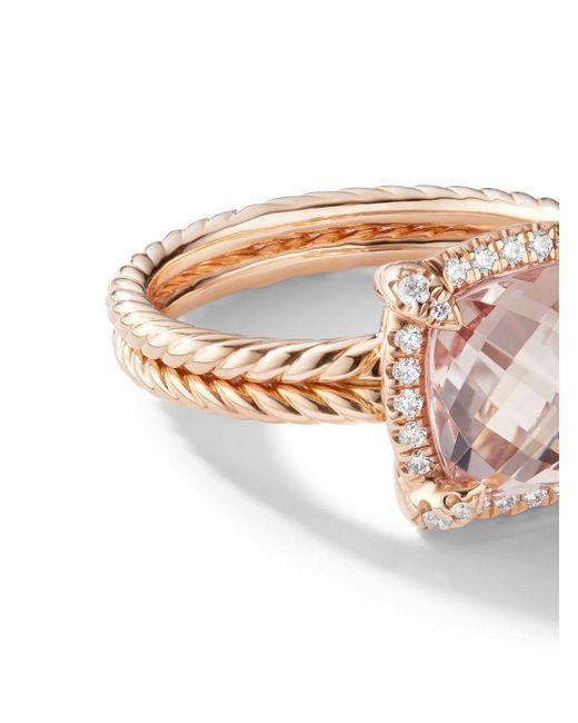 David Yurman Châtelaine モルガナイト&ダイヤモンド リング 18kローズゴールド Multicolor