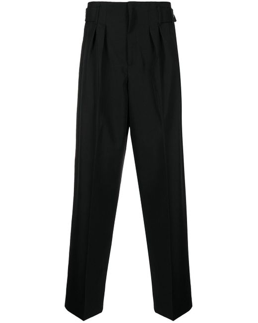 Maison Kitsuné Black Pressed-crease Tailored Trousers for men