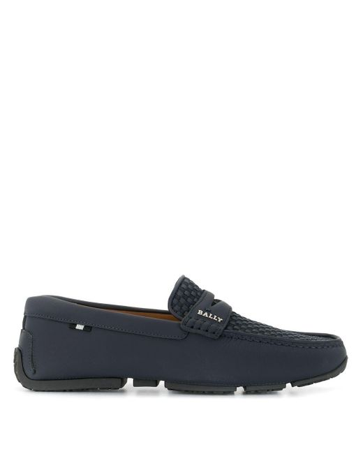 Bally Blue Woven Mesh Driving Shoes for men