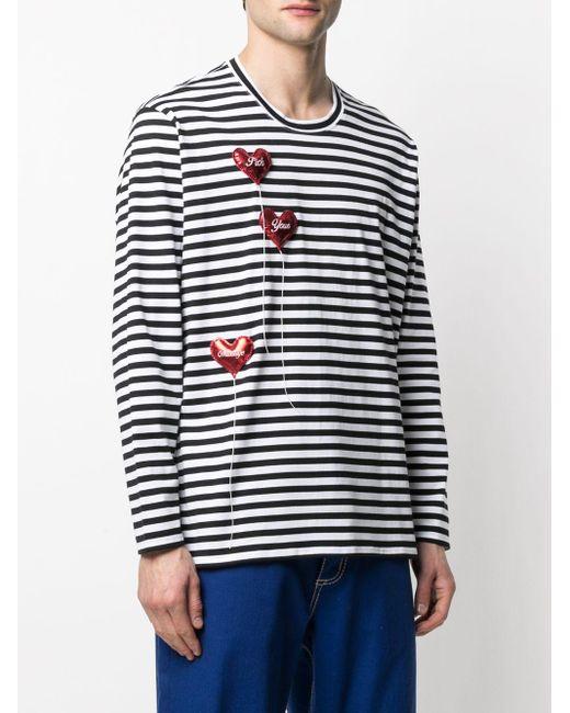 メンズ Doublet ストライプ ロングtシャツ White
