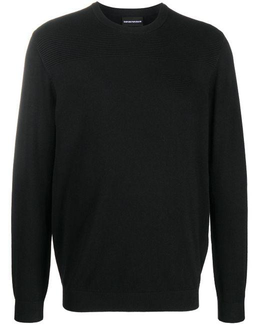 メンズ Emporio Armani リブニット パネル セーター Black