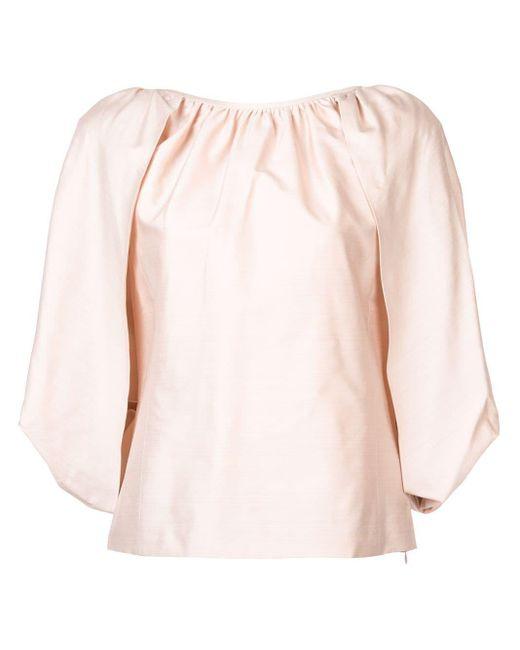Gabriela Hearst Draped Flared Blouse Pink