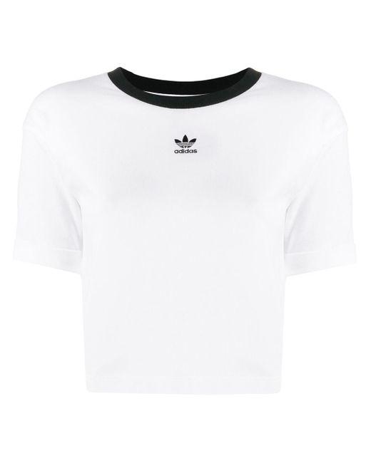 Adidas クロップド Tシャツ White