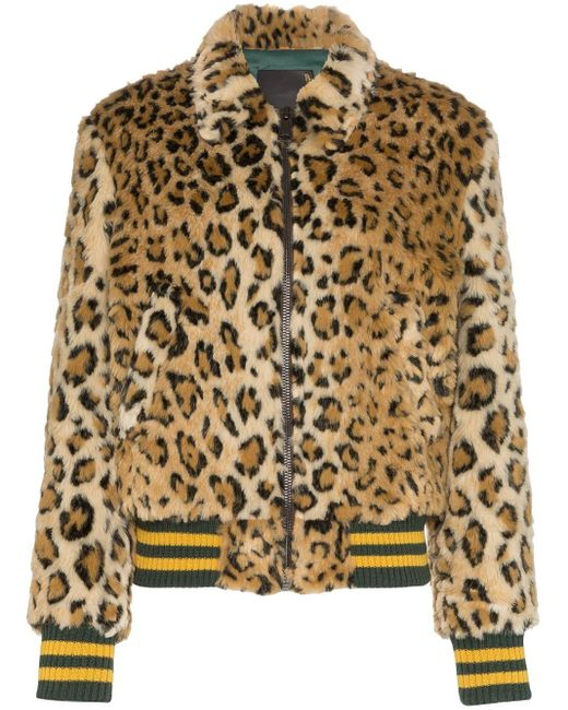 R13 Brown X Alison Mosshart Leopard Print Bomber Jacket