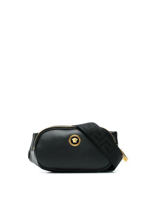 Versace Black Medusa Plaque Belt Bag for men