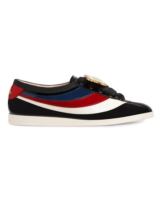 Gucci - Black Falacer Patent Leather Sneaker With Web - Lyst