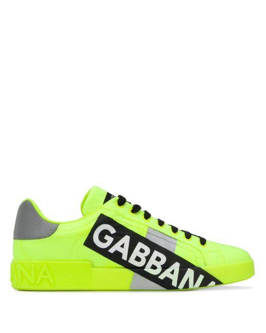 Dolce & Gabbana Yellow Portofino Sneakers In Fluorescent Nylon With Logotape for men