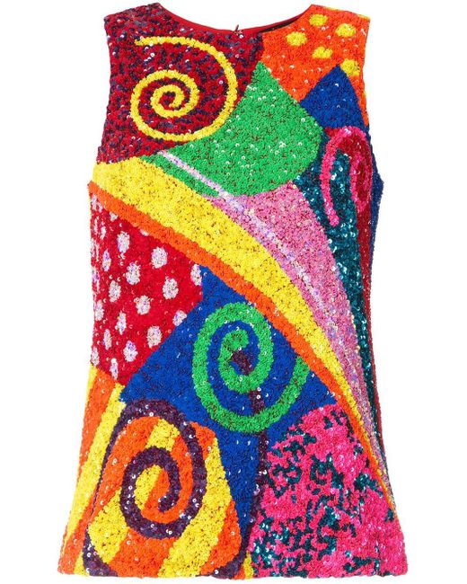 Manish Arora Multicolor Paillettentop im Patchwork-Look