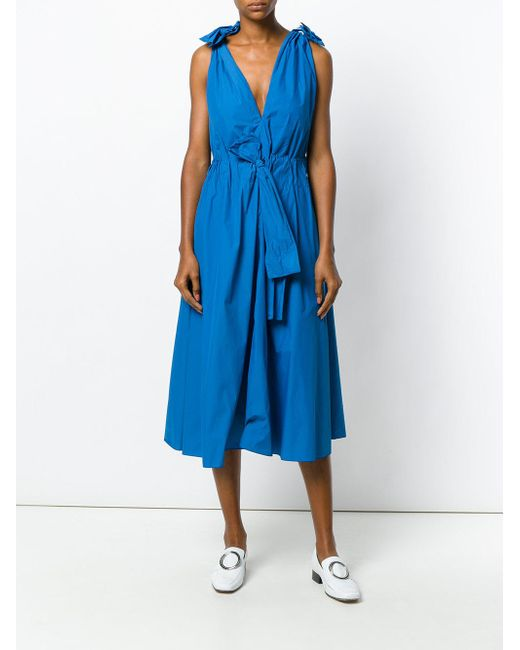 Lyst maison rabih kayrouz abito con fiocchi in blue for Au maison fabric