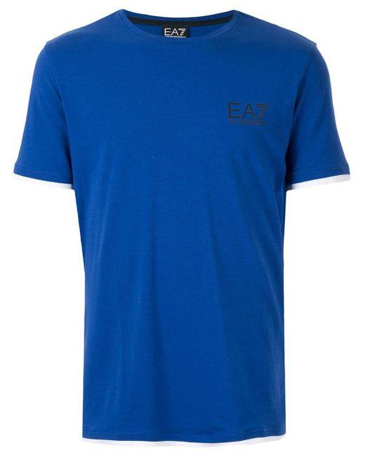 メンズ EA7 ロゴ Tシャツ Blue