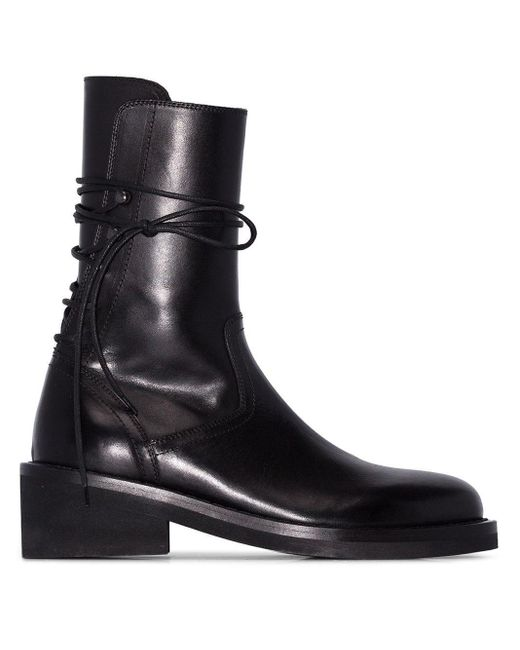 Women's Black Rear Lace-up Leather Boots
