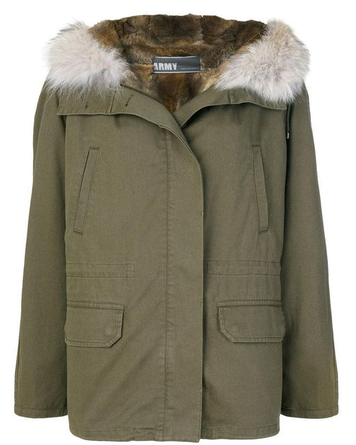 Army by Yves Salomon - Green Fur-trimmed Parka Coat - Lyst