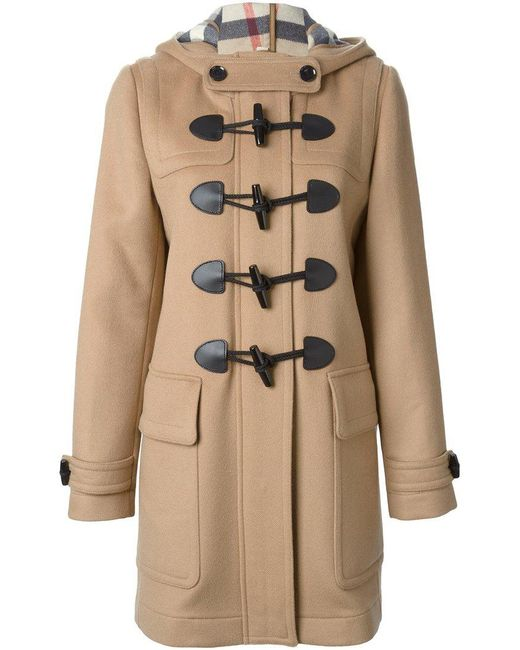 burberry duffle coat in brown lyst. Black Bedroom Furniture Sets. Home Design Ideas