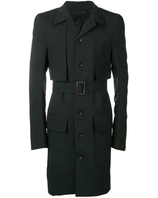 Rick Owens Black Single-breasted Coat for men