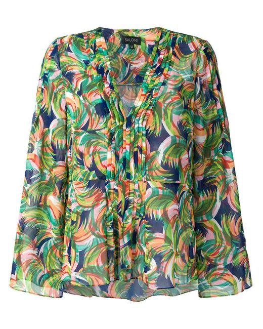 Saloni Blusa estampada con cuello en V de mujer de color verde