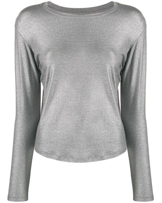 Majestic Filatures Gray Glitter-effect Long Sleeve Top
