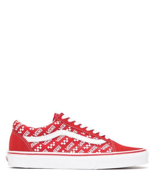 Vans Zapatillas Old Skool con logo de hombre de color rojo