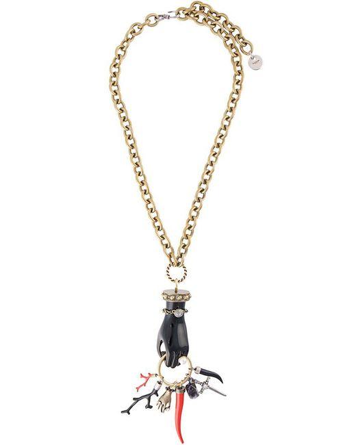 Lanvin | Black Long Hand Pendant Necklace | Lyst